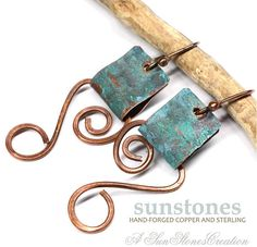 Hammered Rustic Copper Earrings E996