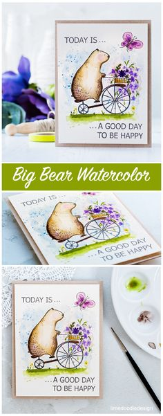 Big Bear watercolor by Debby Hughes using a new Big Bear & Bird set for Waffle Flower. Find out more about this card and the new release by clicking on the following link: http://limedoodledesign.com/2017/03/waffle-flower-spring-release-watercolored-big-bear/