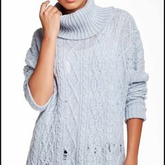 Free People Complex Cable Knit Pullover Free People Complex Cable Knit Pullover. Light blue. Distressed look. New with tags!!! Free People Sweaters Cowl & Turtlenecks
