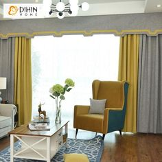 DIHIN HOME Simple Grey and Yellow Printed,Blackout Curtains Grommet Window Curtain for Living Room ,52x84-inch,1 Panel Grommet Curtains, Sheer Curtains, Blackout Curtains, Window Curtains, Valance, Curtain Length, Yellow Print, Room Darkening