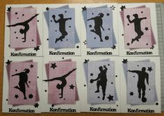 Konfirmations kort Så har der været gang i konfirmations kort igen. Sammen model, men med forskellige farver papir og silhouett... Diy And Crafts, Card Crafts, Silhouettes, Projects To Try, Scrapbooking, Sports, Cards, Character, Fest