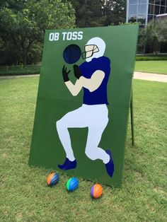 you could buy one of those large wall vinyl stickers of your favorite football player & apply it to the board ! or get a poster size print of a photo of ur favorite quarter back or u could hand paint it . School Carnival Games, Diy Carnival Games, Carnival Booths, Spring Carnival, Carnival Themes, Halloween Carnival, Carnival Birthday, Halloween Party, Easy Halloween