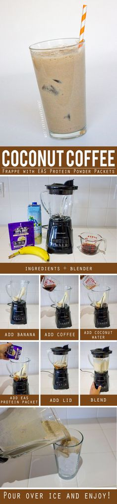 Coconut-Coffee-Frappe-Protein-Shake by Jennifer Priest. Make this on the go in a shaker bottle or at home in a blender as an alternative to expensive coffee drinks and fast food when you're on the go. See how we use EAS Protein Powder Packets in our daily life to stay healthy PLUS there's a Target Cartwheel deal on EAS products through Oct 31 - click for more info   #DoMoreWithEAS #CollectiveBias #ad