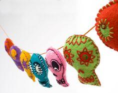 Dia de los Muertos garland, so fun for Christmas too.