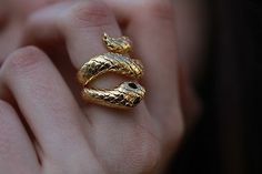 carved gold snake ring by leslie