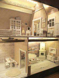 Olipa kerran pienempi koti Contemporary Cottage, Home Fashion, Doll Houses, Christmas Ideas, House Ideas, Decorating Ideas, Miniatures, Dolls, Mansions