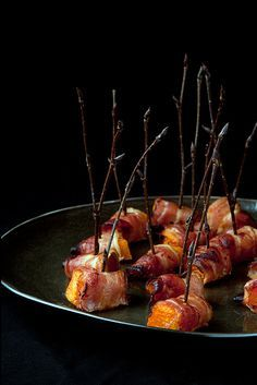Roasted Squash Wrapped in Bacon - maybe wrap in baked parmesan cheese for a vegetarian version?