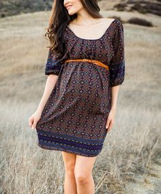 Look at this PinkBlush Navy Blue & Rust Geometric Belted Maternity Dress on #zulily today!