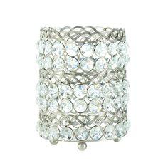 Eternity Large Candle Holder - Sparkling silver metal and shimmering crystalline gems have been woven together to create this dramatic and gorgeous lighting accent. Put the candle of your choice inside this large tabletop candle holder and light it to add glamour to your room.