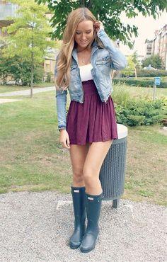 Obraz znaleziony dla: Girls Wearing Hunter Boots