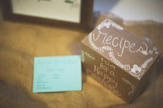 "Guestbook idea: ""Recipes for a Happy Marriage"" Guest write down marriage advice, dating ideas, etc. Can also turn into your cooking recipe box in your home after marriage."