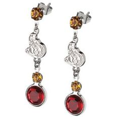 Ottawa Senators Crystal Logo Earrings. Enjoy these earrings featuring the NHL team the Ottawa Senators. A great gift for any Ottawa Senators fan! The earrings feature team color crystal jewels, rhodium plated alloy charms with team logo and team color crystals. A matching necklace is also available. Express your team pride with jewelry from LogoArt®. LogoArt® earrings are available in 14KT and 10KT gold, sterling silver and gold plated sterling silver. The precise detail of your favorite team's