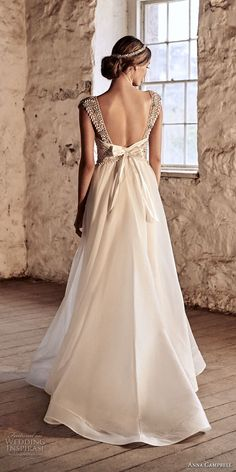 anna campbell 2018 bridal cap sleeves scoop neckline heavily beaded embellished bodice romantic a  line wedding dress open scoop back chapel train (7) bv -- Anna Campbell 2018 Wedding Dresses