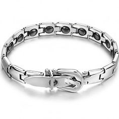 New Unique Polished Design Anti-Fatigue Titanium Bracelet With Brazilian Hematite Inlaid - USD $25.95