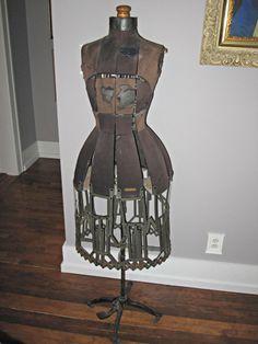 Hall Borchert Antique Victorian Dress Form Mannequin on Stand Sz 1 Adjustable