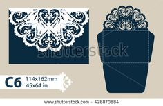 Layout congratulatory envelope with carved openwork pattern. Template is suitable for greeting cards, invitations, etc. Picture suitable for laser cutting, plotter cutting or printing. Vector - stock vector