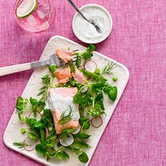 Poached Salmon and Watercress Salad With Dill-Yogurt Dressing:  Nutritional powerhouse salmon is rich in protein, heart-helping omega-3 fatty acids, and vitamin D. This salad is light and refreshing, and doesn't skimp on zesty flavor. - 20 Skinny Main-Dish Salads | Health.com