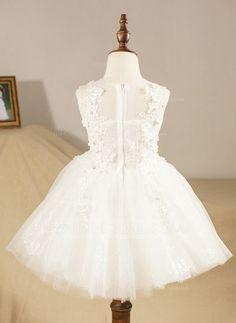 Ball Gown Scoop Neck Knee-length Appliques Tulle Sleeveless Flower Girl Dress Flower Girl Dress