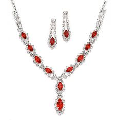 Classic Red Rhinestone Necklace Set // by #Mariell // #jewelry #bridesmaids #prom