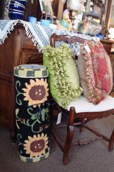 sunflower runner with a spring green pillow