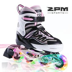 2pm Sports Cytia Pink Girls Adjustable Illuminating Inline Skates with Light up Wheels, Fun Flashing Rollerblades for Kids, Beginner Roller Skates for Ladies - Large (US 5-8)