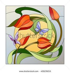 Illustration about Stained glass pattern with red flowers and butterflies. Illustration of nature, flora, ornament - 71425835 Stained Glass Quilt, Stained Glass Flowers, Faux Stained Glass, Stained Glass Designs, Stained Glass Panels, Stained Glass Projects, Stained Glass Patterns, L'art Du Vitrail, Glass Butterfly