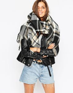 Image 1 of ASOS Oversized Scarf In Black & Camel Check With Tassels