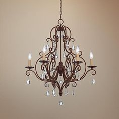 Feiss Chateau Collection Mocha Bronze Crystal Chandelier - #59206 | LampsPlus.com