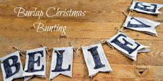 burlap Christmas bunting mantel www.homeroad.net