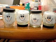 Baby food jars stuffed with cotton balls.  could make these into ornaments...