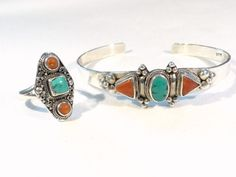 Hey, I found this really awesome Etsy listing at https://www.etsy.com/listing/189314406/sterling-silver-coral-turquoise-bracelet