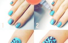 Step-by-step how to blue leopard nail art