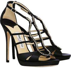 Jimmy Choo Shoes Diamante Satin Black