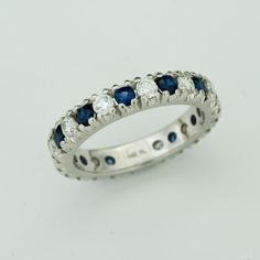 Vintage Platinum Diamond and Sapphire Eternity Band
