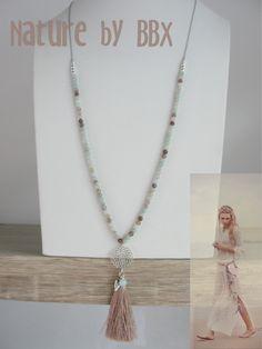 COLLECTION NATURE : sautoir perles gemmes amazonite et Bostwana agate, argent…
