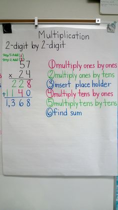Superstars Which Are Helping Individuals Overseas Multiplication: 2 Digit By 2 Digit Anchor Chart Multiplication Anchor Charts, Math Charts, Teaching Multiplication, Math Anchor Charts, Teaching Math, Standard Algorithm Multiplication, Two Digit Multiplication, Math Math, Math Fractions