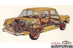 There was a time when Europe was awash in rear-engine cars. Though only Porsche stubbornly insists on leading from the rear today, automakers across the continent and in Japan enthusiastically. Cutaway, Mini Trucks, Car Posters, Illustrations And Posters, Technical Illustrations, Retro Cars, Automotive Design, Car Pictures, Motor Car