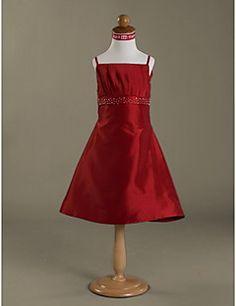 Clearance!A-line Spaghetti Straps  Knee-length  Satin Flower Girl Dress