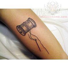 Grey Ink Spool Sewing Tattoo