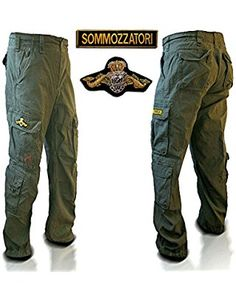 Cargo pants with diver's emblems