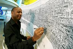 After only a 20 minutes helicopter ride over New York City, autistic artist, Stephen Wiltshire was able to draw the New York skyline, in pen, purely from memory. Stephen Wiltshire, Autistic Artist, London Pictures, Vida Real, London Skyline, Ny Skyline, Extraordinary People, Black Artists, Reproduction