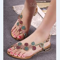 Shop Shining Rhinestone Flower Flat Sandals on sale at Tidestore with trendy design and good price. Come and find more fashion Flat Sandals here.Discover unique designer Shoes offered by independent designers at StyleWe; Cute Flats, Cute Sandals, Flat Sandals, Cute Shoes, Leather Sandals, Me Too Shoes, Shoes Sandals, Heels, Pretty Sandals