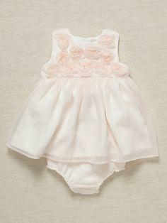 miniclasix Girls Rosette Dress  Bloomer Set