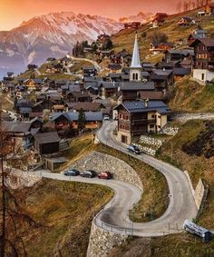 I'd like to go up these winding roads in Vernamiege, Switzerland.