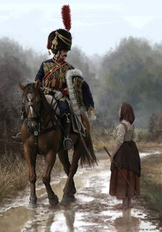 ArtStation - French Hussar and Peasant Girl, Nils Wadensten Military Art, Military History, Painting Digital, Edouard Detaille, Asesins Creed, Seven Years' War, Historical Art, World War One, Napoleonic Wars