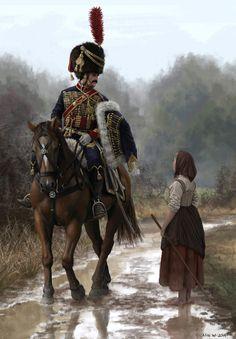 ArtStation - French Hussar and Peasant Girl, Nils Wadensten Military Art, Military History, Character Art, Character Design, French Army, Historical Art, Napoleonic Wars, Dieselpunk, Art History