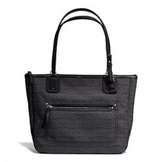 Coach New Poppy Signature Oxford Mini C Silver And Black Tote Bag $118