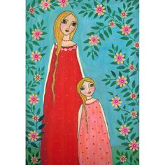 Mother and Child Painting Art Print Mounted on Wood by Sascalia, $35.00