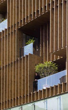 Office block on Tehran, Iran by LP2 architecture studio http://www.dezeen.com/2016/06/17/lp2-office-block-tehran-iran-louvred-wooden-facades/