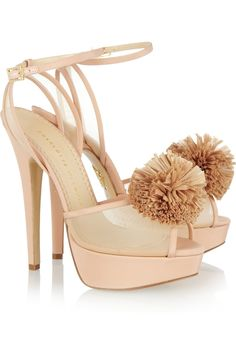 Charlotte Olympia Pomeline Crepe De Chine Sandals in Pink